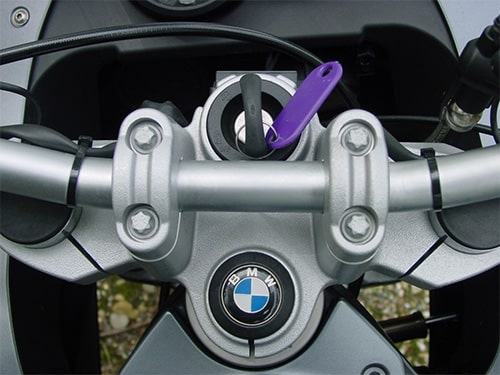 image of a BMW motorcycle ignition and key